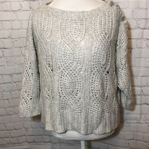Ann Taylor Cropped Sweater Button Shoulders